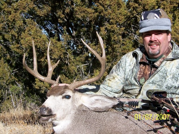 A nice mule deer buck taken while archery hunting in New Mexico