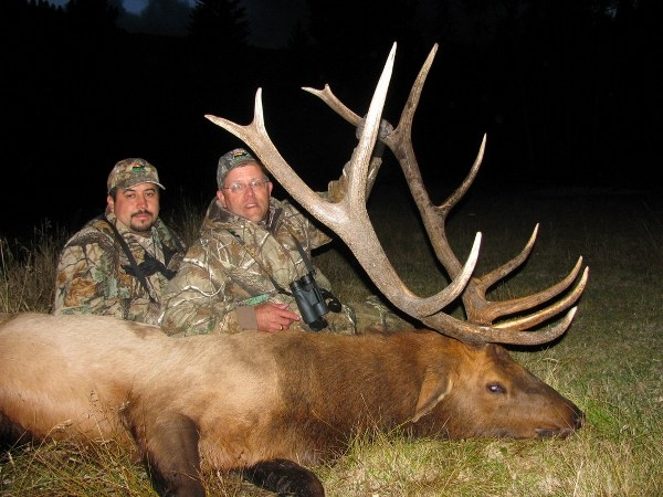 A large bull elk taken with Rio Outdoor Adventures